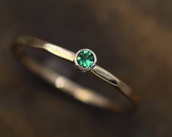 Emerald Ring - 2.5mm, 1.4mm Band - Hammered Stacking Ring - Made in 14 kt Yellow and White Gold - Stackable Ring - Emerald Solitaire
