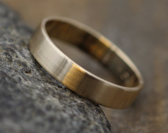 14kt Yellow Gold 4x1mm Wide Flat Band with Matte Finish - Hand Made in solid 14 kt Yellow Gold - Wide Band - Low Profile Gold Ring