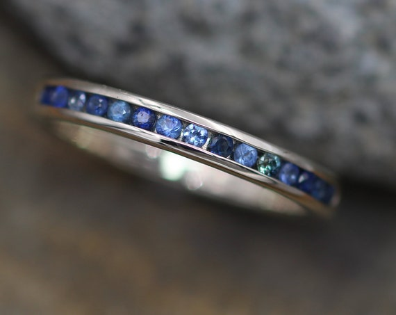 Alternative Wedding Band - Alternative Wedding ring - Alternative Sapphire Ring - Sapphire Channel Ring - Made in Silver or Gold