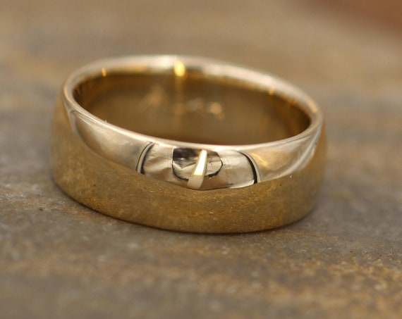 Very Wide 7x2mm 14kt Yellow Gold Band Glossy Finish , Comfort Fit - Smooth Band - Engravable Band - Half Round Gold Band - Hand Made