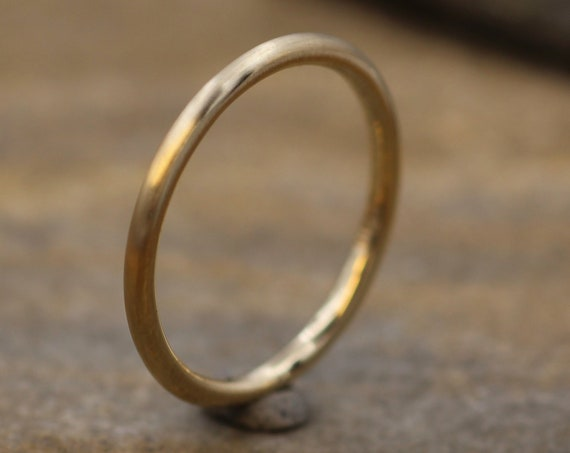 14 kt YellowGold Band - 1.6 mm, Matte Finish - Thick Yellow Gold Ring - Yellow Gold Stacking Ring - Gold Ring - Yellow Gold Band
