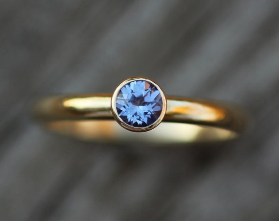 Tanzanite 4mm Gold Bezel Ring - Glossy Finish, Half Round Band - Tanzanite Shiny Gold Ring -  Round Tanzanite Ring
