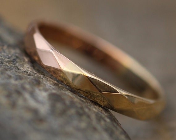Rose and Yellow Gold Two Tone  Simple Band with Hammered/Faceted Texture and Personalized, Custom Engraving, Stackable, Hand Made