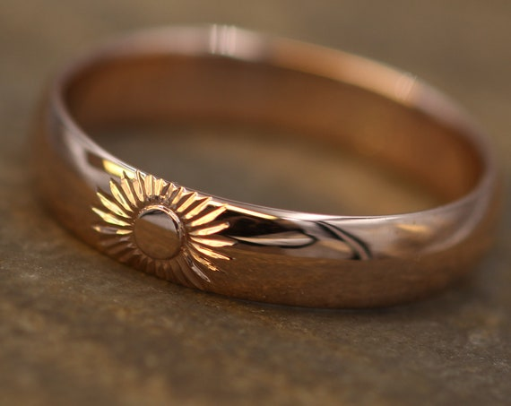Sun Engraved Wide Rose Gold Band 4.5x 1.5mm, Glossy Finish , Comfortable Band - Smooth Band - Bright Cut Sun Ring - Sun and Moon Ring