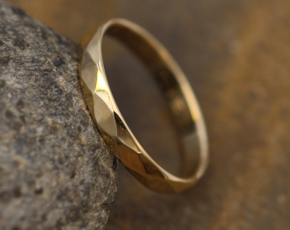 Yellow Gold 3x1.5mm width Hammered/Faceted Texture - Simple Gold Band - Personalized, Custom Engraving, Stackable, Hand Made