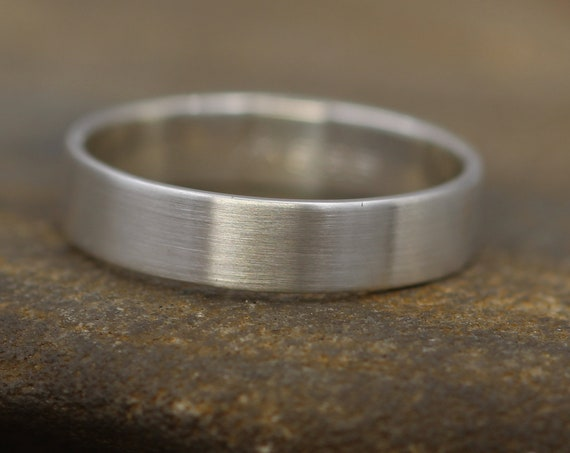 Sterling Silver Flat Wide Band - 4.5x1mm Matte Finish - Mens Wide Band - Thin Silver Ring - Silver Band - Low Profile Silver Band