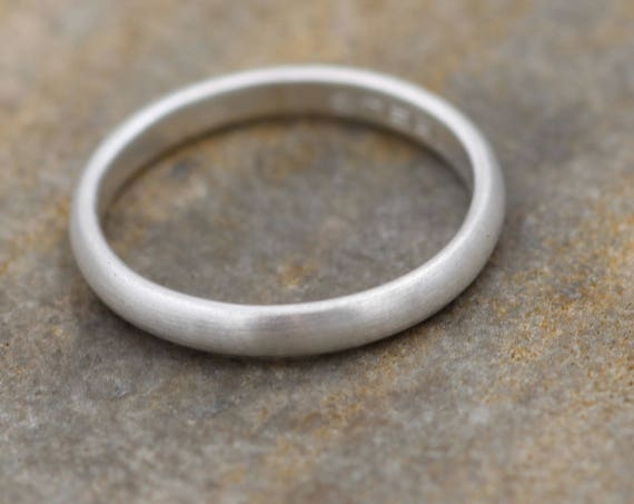 Half Round Silver Matte Ring 3x1.5mm - Simple band - Smooth Texture Half Round Band hand made in sterling silver 14 kt yellow gold