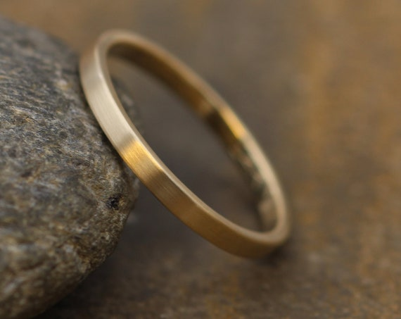 2x1.2mm Flat Yellow Gold Band with Matte Finish - Hand Made in solid 14 kt Yellow, Rose or White Gold - Skinny Band