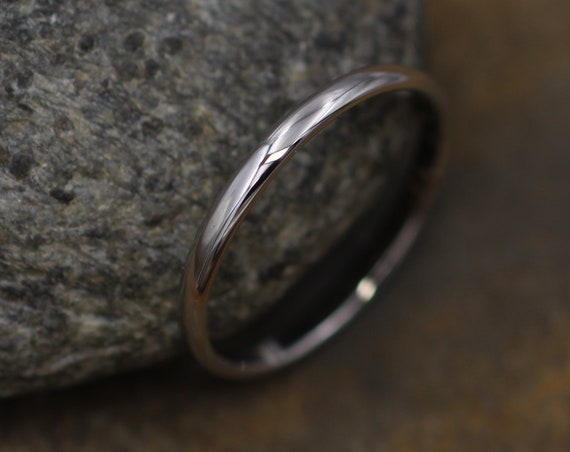 Platinum Glossy Band 1.75x1mm - Simple Platinum Band - Smooth Platinum Band - Engravable Band - Half Round Band - Hand Made in 950 Platinum
