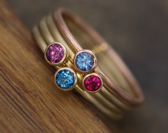 Aquamarine, Ruby, Rhodolite Garnet & Aquamarine Matte Finish Round Gold Stacking Ring Set - Made in Solid 14 kt Gold