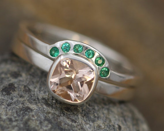 Morganite and Emerald Ring Set - 6x6mm Morganite With Wraparound - Glossy Morganite Ring - Morganite Bezel - Morganite Ring Set