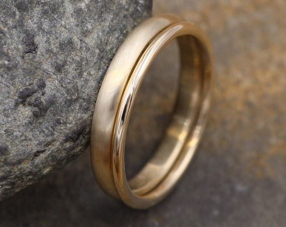Yellow Gold Ring Set, Matte & Glossy Set - Engravable - Half Round - Traditional - Simple Bands - Hand Made in 14 Kt Yellow