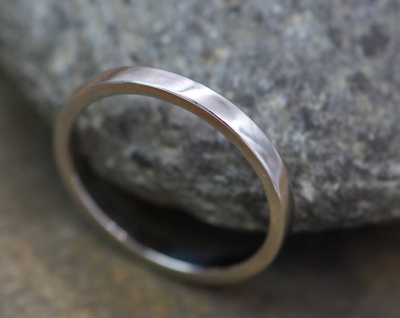 Platinum Ring  2x1.2mm Flat Glossy - Shiny Platinum Ring - Platinum Wedding Ring - Platinum Stacking Ring - Engravable Platinum