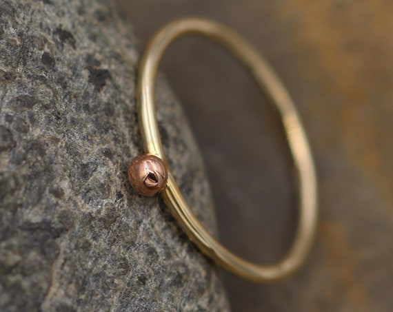 14 Kt Yellow & Rose Gold Dot 1.4mm Glossy Stacking Ring - Rose Gold Bead Stacking Ring - Mixed Metal Gold Stacking - Stacking Band