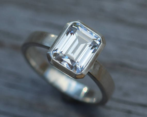 Moissanite White Gold Octagon Bezel Ring -  Alternative Engagement Ring 7x9mm, 2.3 ct -  Matte Finish Bezel Ring - Forever One