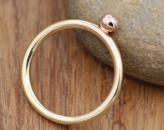 14 Kt Yellow & Rose Gold Dot 2 mm Glossy Stacking Ring - Rose Gold Large Bead Stacking Ring - Gold Stacking - Stacking Band