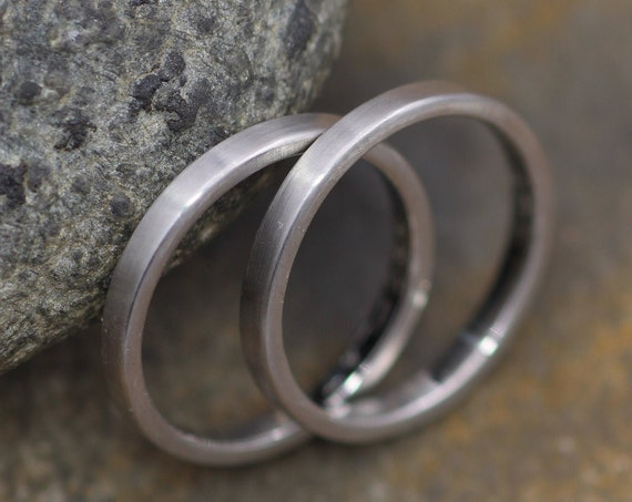 Platinum Matte Ring Set Two  2x1.2mm - Matte Platinum Rings - Platinum Wedding Rings - Platinum Stacking Ring Set -Engravable Platinum