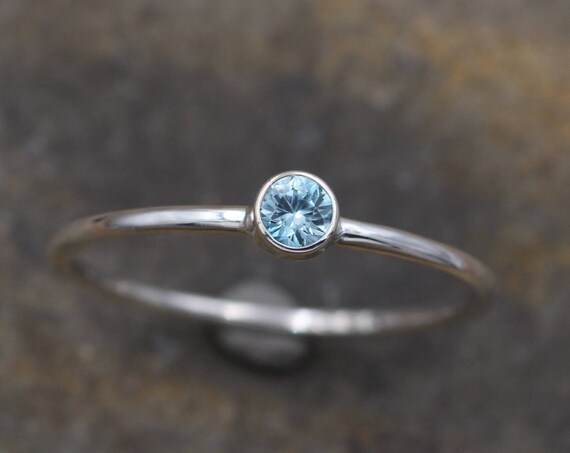 Blue Zircon 3mm Round Glossy Stacking Ring, 1.2mm Band - Skinny Blue Zircon Ring - In Recycled Sterling silver -  Stackable - Smooth Round
