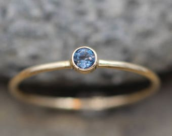 London Blue Topaz Bezel Stacking Ring - 3mm - Round Stacking Ring - Solid 14 kt Yellow Gold - Gold Ring - Glossy Ring - Stackable Gold Ring