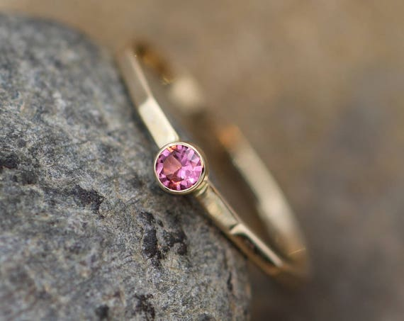 Pink Tourmaline Stacking Ring - 3mm, Glossy Finish - Hand Made Yellow Gold - Stackable - Hammered Texture - Skinny Tourmaline Ring