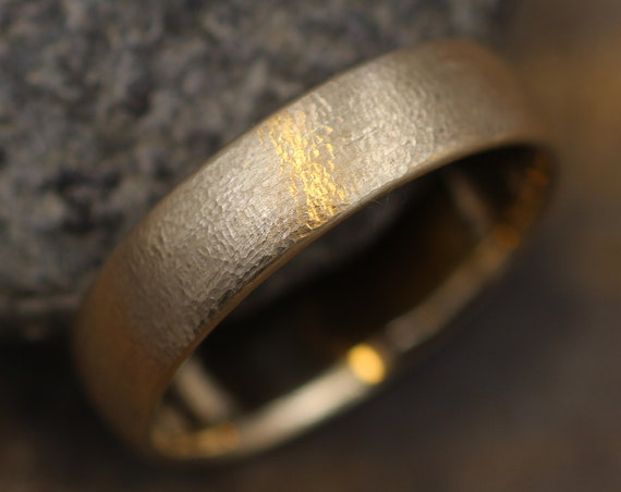 Wide Textured 14kt Yellow Gold Band 5.5x1.6mm,  Comfort Fit - Smooth Band - Engravable Band - Half Round Gold Band - Hand Made