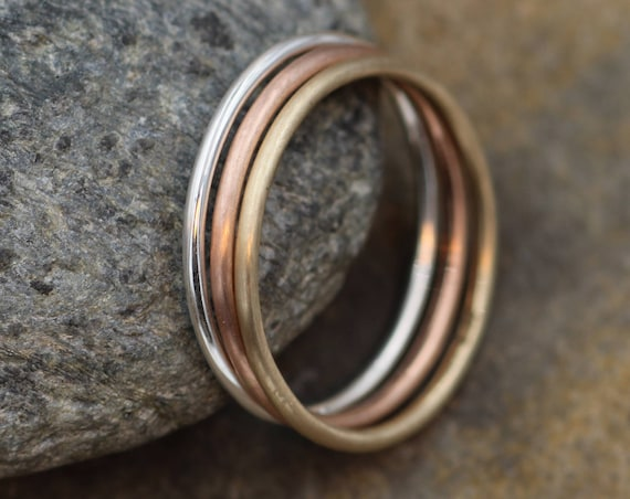 Silver, Yellow and Rose Gold 1.2mm Round Stacking Ring Set - 3 Rings - Ring Set - Smooth Rings, Mixed Finish