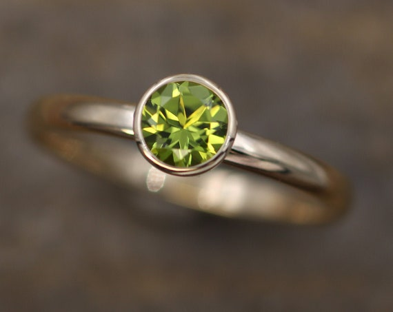 Peridot 6mm Gold Bezel Ring - Arizona Peridot - Glossy Finish, Half Round Band - Peridot Shiny Gold Ring -  Round Peridot Ring
