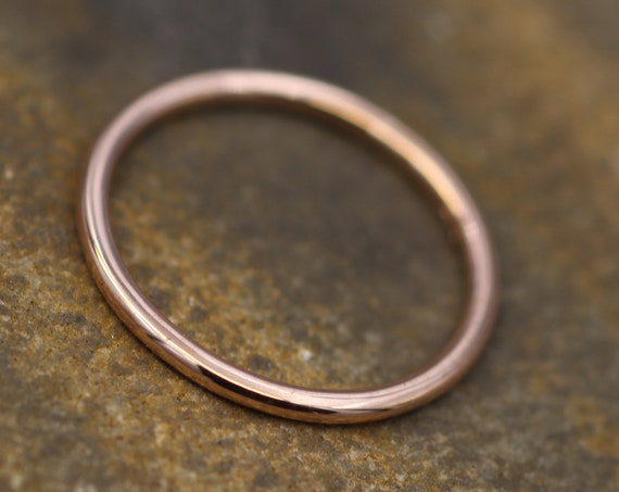 14 kt Rose Gold 1.4mm Round Stacking Ring(s) - Glossy Finish - Skinny Gold Ring - Skinny Stacking Ring - Rose Gold Ring - Pink Gold Ring