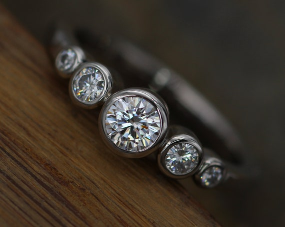 Moissanite Solid Palladium Multi Bezel Ring - Forever One Moissanite Engagement Ring - Moissanite Engagement - Alternative Engagement