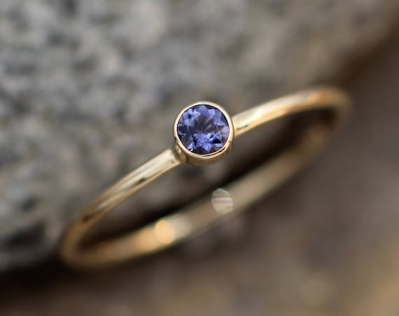 Iolite Gold Bezel Stacking Ring - 3mm Iolite -  Skinny Iolite Ring  - Water Sapphire Ring - Iolite Stacking Ring - Iolite Ring - Stackable