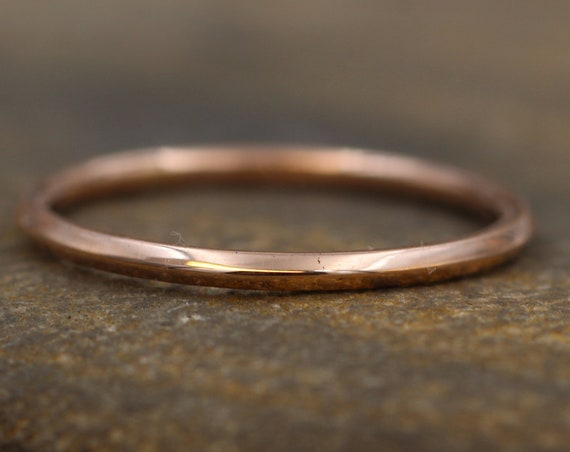 14 kt Rose Gold 1.4mm Knife Edge Stacking Ring(s) - Glossy Finish - Skinny Gold Ring - Skinny Stacking Ring - Pink Gold Ring