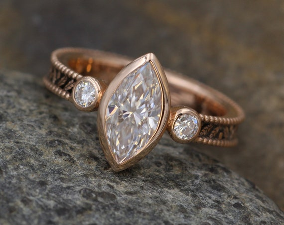 Moissanite Alternative Engagement Rose Gold Hand Made Vintage Style Ring - Marquise Ring - Leaf Engagment Ring