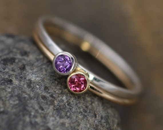 Pink Tourmaline and Lilac Amethyst Stacking Ring Set - 3mm, Glossy Finish - Hand Made in Silver and Yellow Gold - Stackable