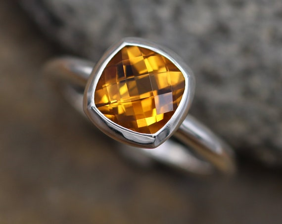 Cushion Cut Citrine Bezel Ring - Checkerboard Cut Citrine Bezel Ring - Citrine Alternative Engagement Ring - Citrine Solitaire