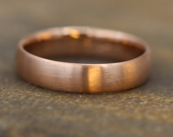 Wide Rose Gold Band 4x 1.4mm, Matte Finish , Comfort Fit - Smooth Band - Engravable Band - Half Round Rose Gold Band - Hand Made
