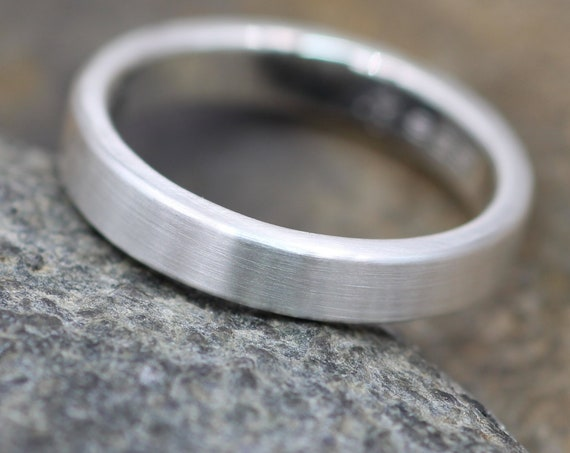 Sterling Wide Band 4x2mm with Matte or Glossy Finish - hand made in Sterling Silver - Mens Band - Silver Ring - Silver Band