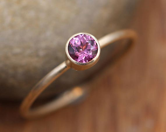 Rhodolite Garnet Round Gold Stacking Ring - 1.2 mm Band - Matte Finish Pink Garnet Ring - Gold Stacking Ring -  Gold Ring