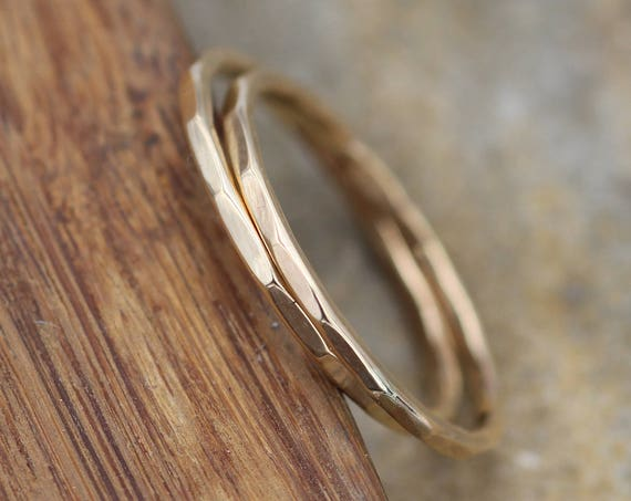 14 kt Gold Hammered Stacking Ring(s) - 1.3 mm- Midi Rings - Hand Made in solid 14 kt Yellow Gold