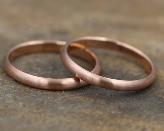 Rose Gold Wedding Band - Simple Rose Gold Band - Smooth Band - Engravable Band - Half Round Gold Band - Hand Made in 14 kt Rose Gold