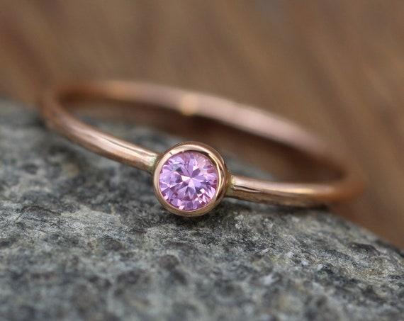 Pink Sapphire Rose Gold Bezel Ring - 3mm Pink Sapphire Solitaire Ring - Rose Gold Ring - Sapphire Rose Gold - Rose Gold Sapphire