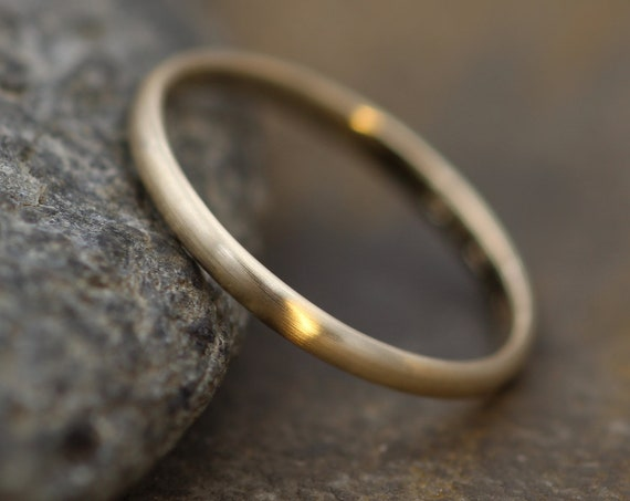 Yellow Gold 14kt 2x1.2mm Matte Finish Band - Simple Gold Band - Smooth Band - Engravable Band - Half Round Gold Band - 14 kt Yellow Gold