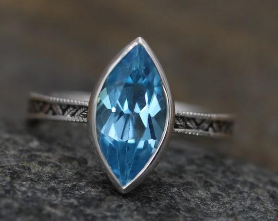 Swiss Blue Topaz Milgrain Leaf Engraved Silver or Gold Multi Bezel Ring -  Alternative Engagement Ring -  Bezel Ring - Marquise Ring