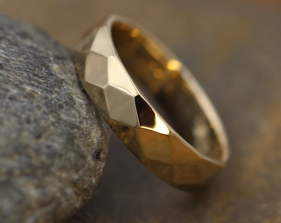 Yellow Gold 4.5x1.5mm width Hammered/Faceted Texture - Simple Gold Band - Personalized, Custom Engraving, Stackable, Hand Made