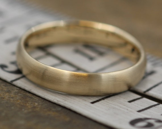 Wide Yellow Gold Band 3.5x 1.4mm, Matte Finish , Comfort Fit - Smooth Band - Engravable Band - Half Round Gold Band - Hand Made