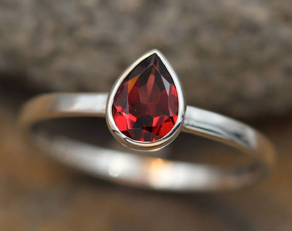 Garnet Pear Bezel Ring Glossy Finish - Pear shaped Ring - Rock Fettish Ring - In Sterling Silver or Gold- Alternative Engagement Ring