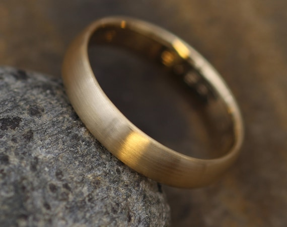 Wide Yellow Gold Band 4x 1.4mm, Matte Finish , Comfort Fit - Smooth Band - Engravable Band - Half Round Gold Band - Hand Made