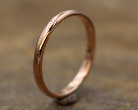 Rose Gold 14kt 2x1.2mm Glossy Finish Band - Simple Gold Band - Smooth Band - Engravable Band - Half Round Gold Band - 14 kt Pink Gold