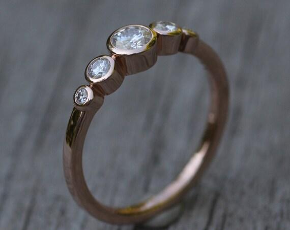 Moissanite Multi Bezel Rose Gold Ring - Forever One Moissanite Engagement Ring - Moissanite Engagement Ring - Alternative Engagement Ring