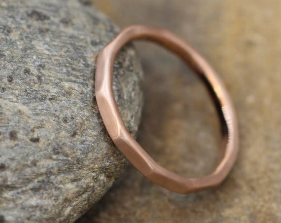 Solid 14 kt Rose Gold Matte 2mm Thick Ring -  Thick Rose Gold Hammered Band - Simple band - Hand Made