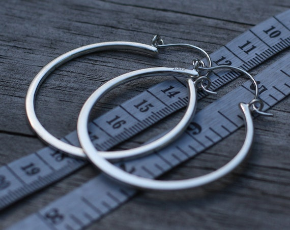Silver Hoop Earrings - Matte Flat Silver Hoops - Hand Made - Variable Size Options - Choice of Sterling or 14 kt Yellow Gold